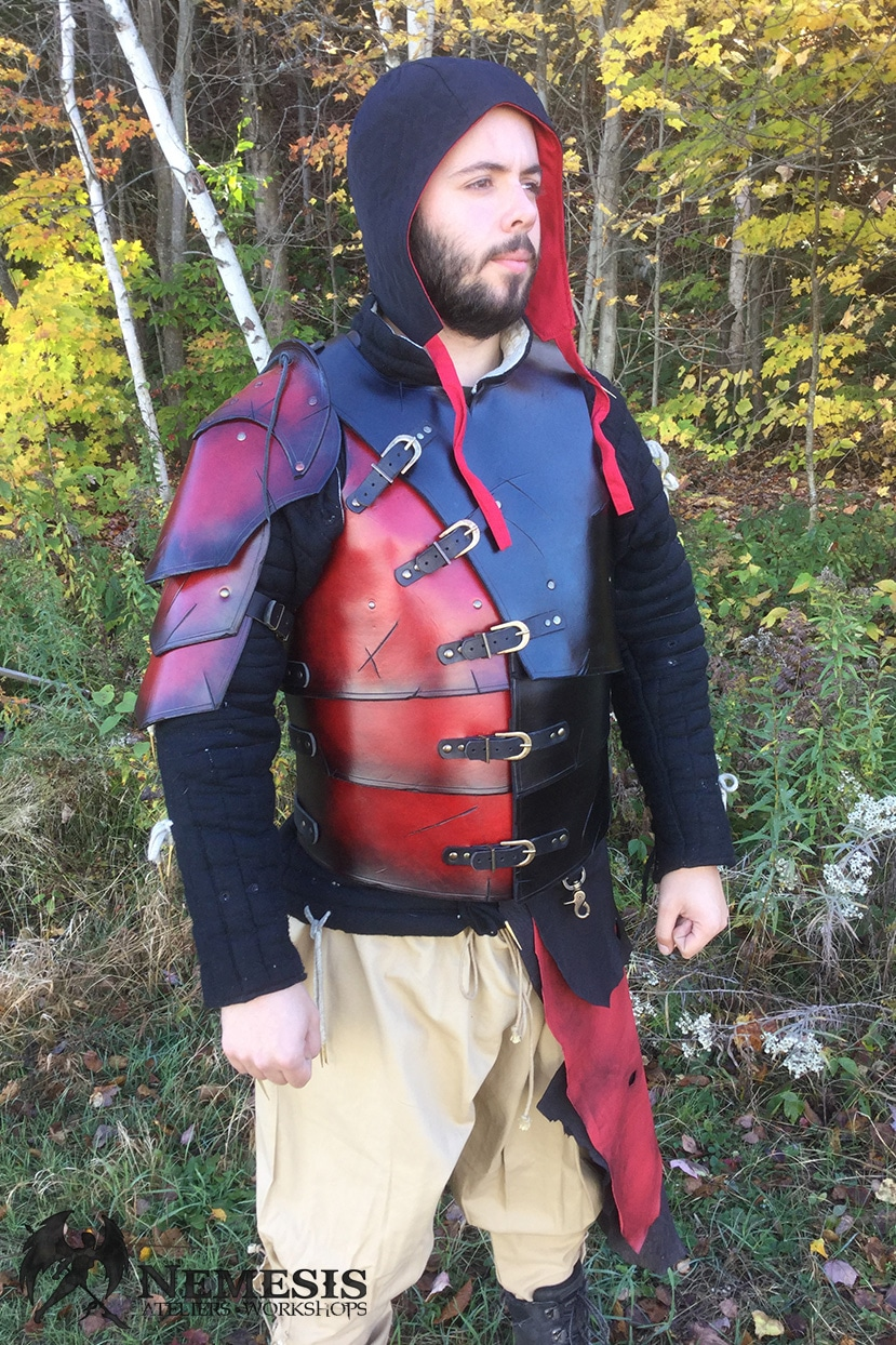 LARP leather armor red soldier