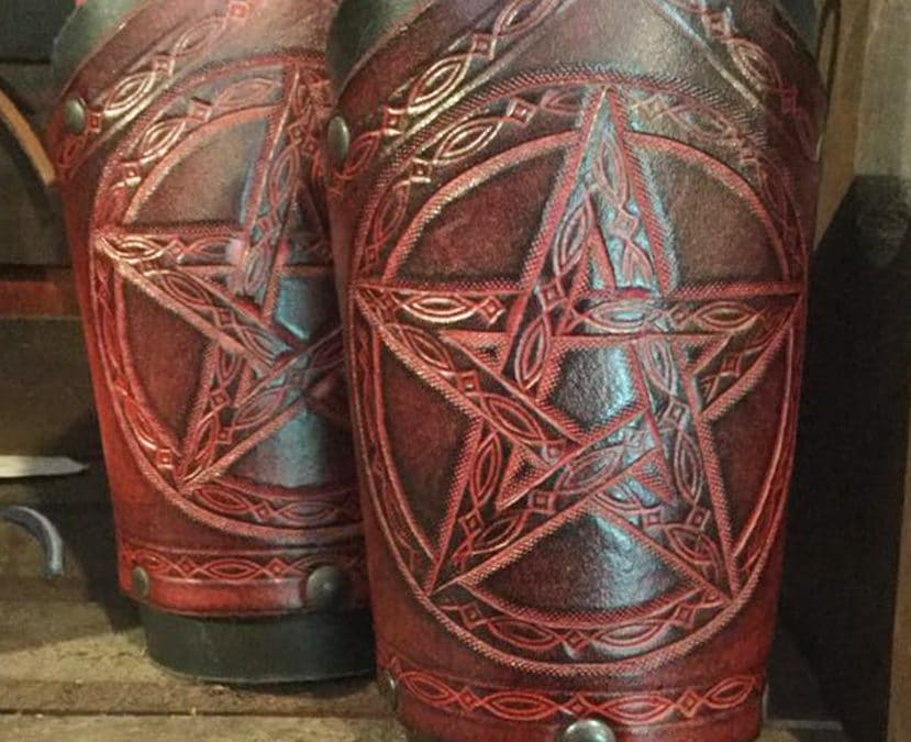 LARP leather bracers magic pentacle