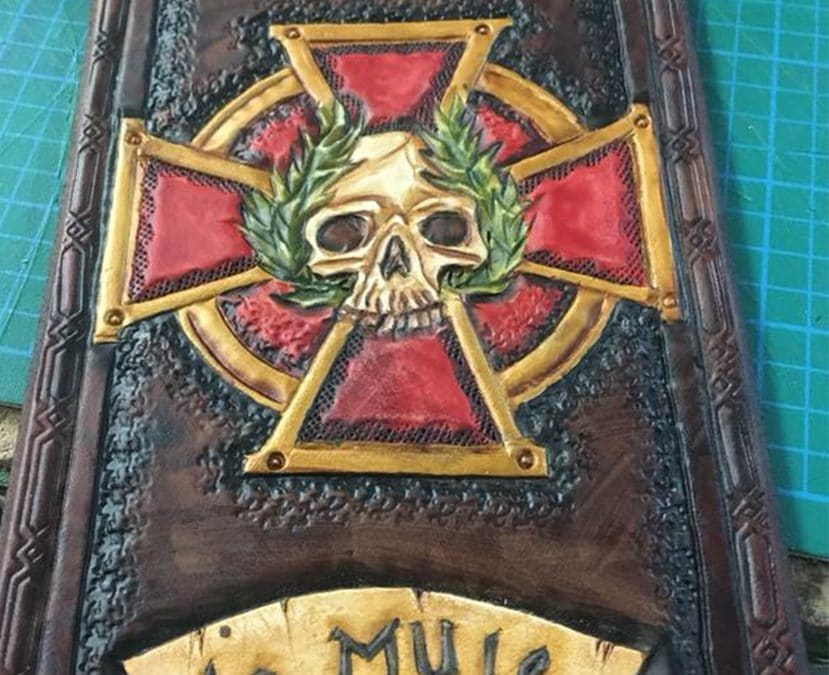 LARP leather empire skull logo