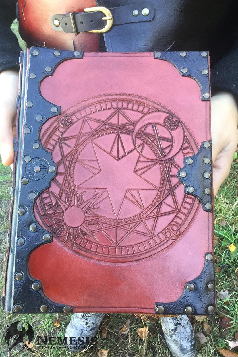 LARP leather spellbook sakura custom