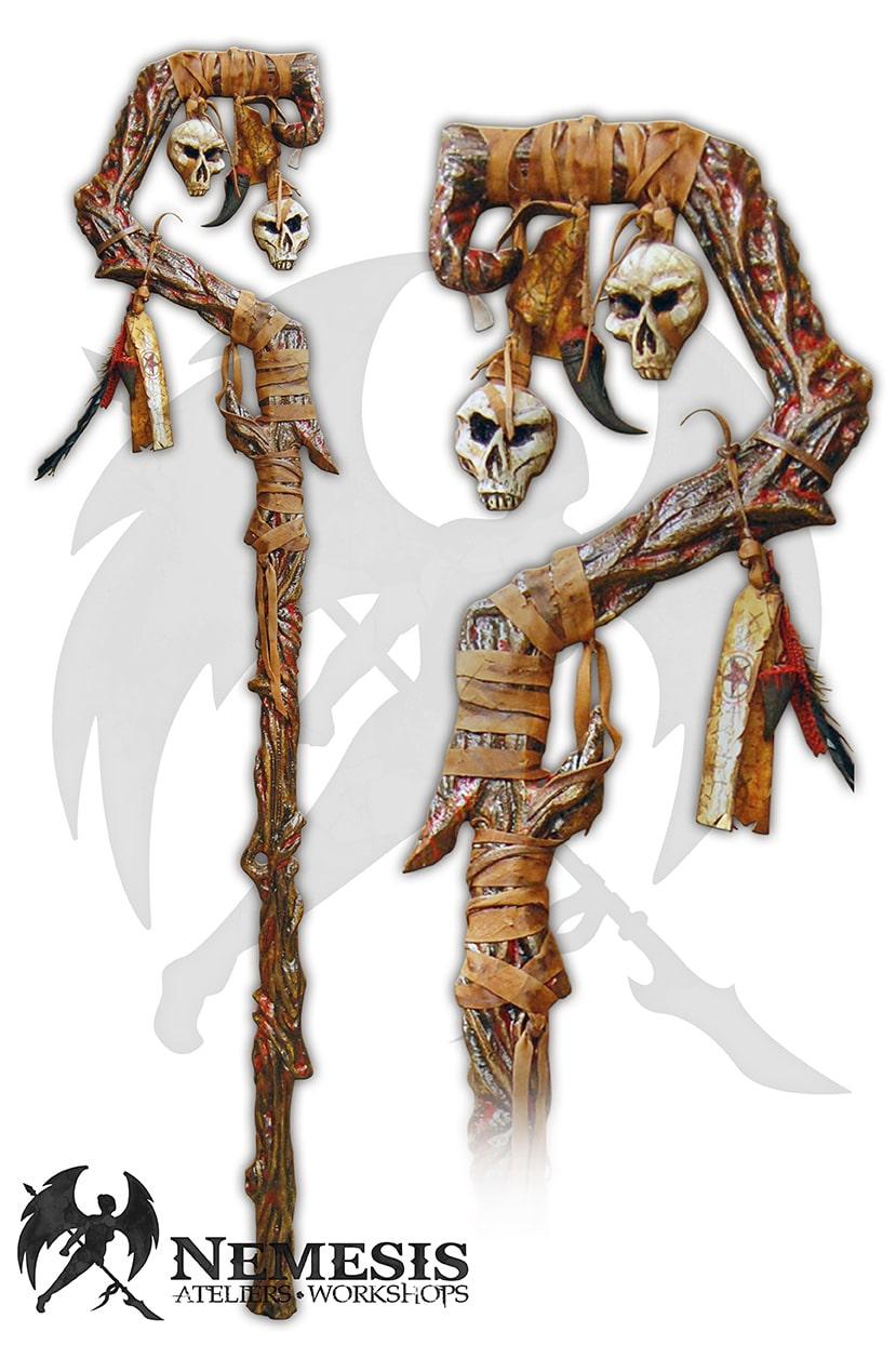 larp necromancer staff skull blood