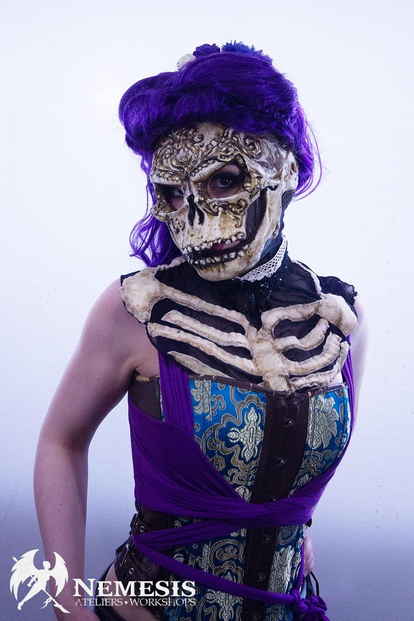 larp latex mask skull girl
